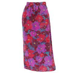 1980s Pierre Cardin Silk Floral Printed Skirt