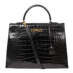 Hermes Kelly Sellier 35 Black Alligator