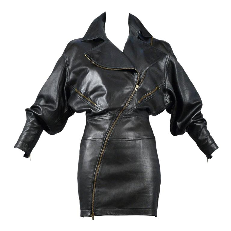 Alaia Rare Leather Zipper Dress 1986 1