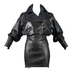 Alaia Rare Leather Zipper Dress 1986
