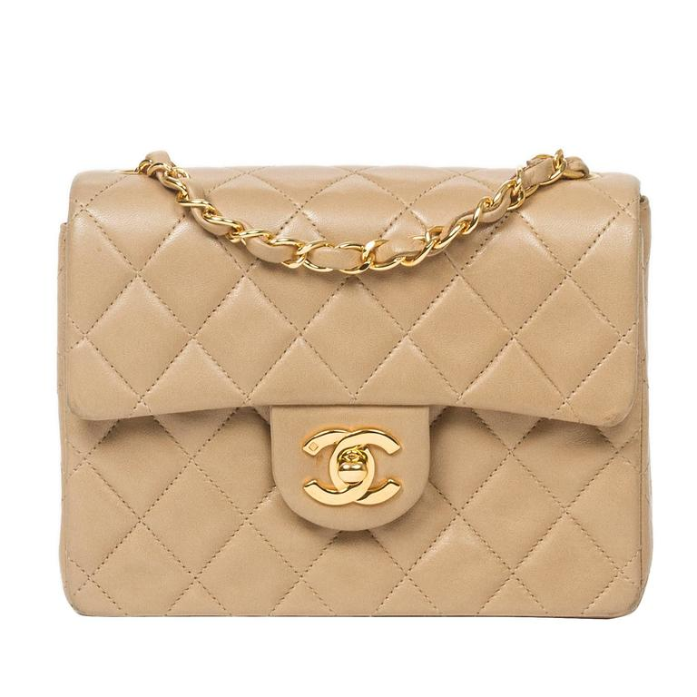 Chanel Classic Mini Flap Bag Beige Quilted Leather 1