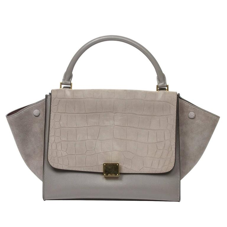 CELINE Trapeze MM Grey Alligator Embossed Nubuck For Sale