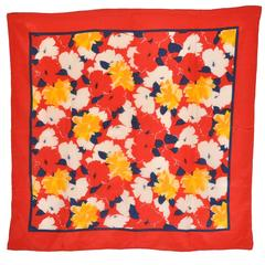 Bold Multi Floral with Red Border Silk Scarf