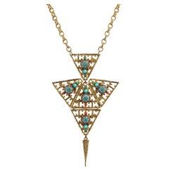 JULIANA D&E Circa 1970's Gold Turquoise Moroccan Matrix Stone Statement Necklace