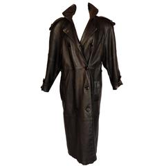 The New York Leather Company Long Black Leather Spy Coat Trench VTG 80s USA Sz L