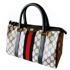 Iconic Gucci Navy Leather + Monogram Canvas Web Boston Bag Speedy Satchel 1980s