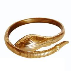 Unique Coiled Serpent or Snake Bracelet 1970s