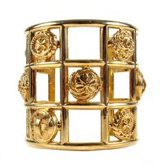 Chanel Cage Cuff Bracelet - Vintage Gold Wide Bangle CC Logo Charm Symbols Lucky