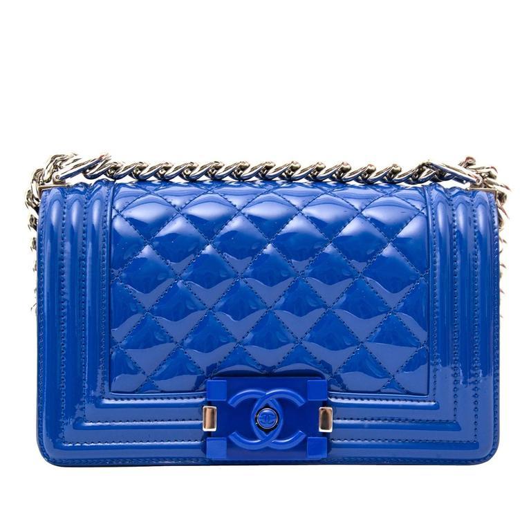 8fddb0f026bf Chanel Patent Petrol Blue Boy Bag with Plexiglass CC Boy Clasp For Sale