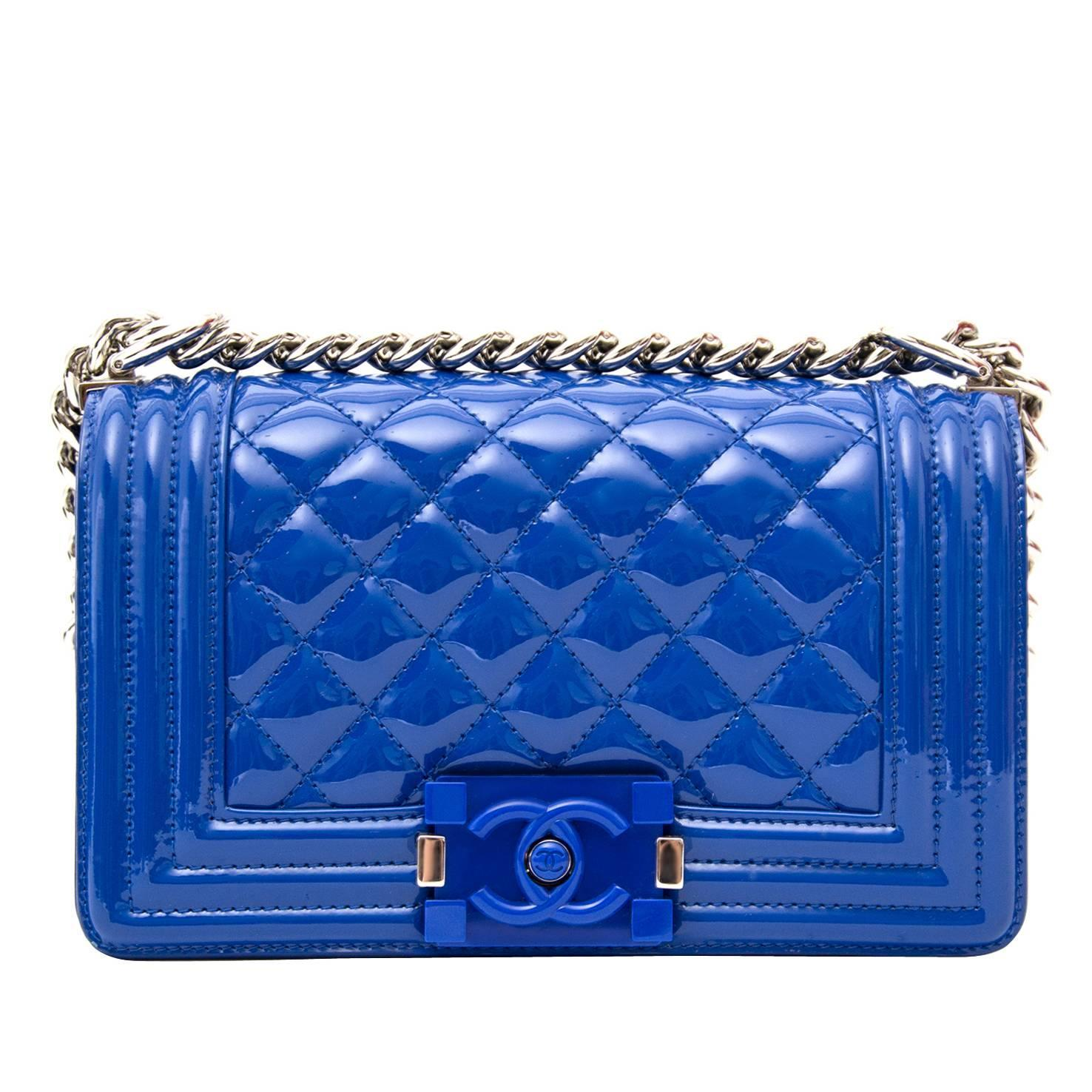 1315bef462c2 Chanel Patent Petrol Blue Boy Bag with Plexiglass CC Boy Clasp at 1stdibs