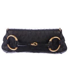Stunning Gucci Ostrich Skin Horsebit Flap Bag