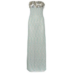 Missoni Metallic Blue Crochet Knit Corset Evening Gown