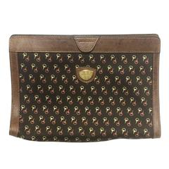 Vintage Gucci brown toiletry clutch pouch with all over horsebit print
