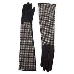 Sermoneta Black Leather Studded Gloves sz 7 rt. $3,000
