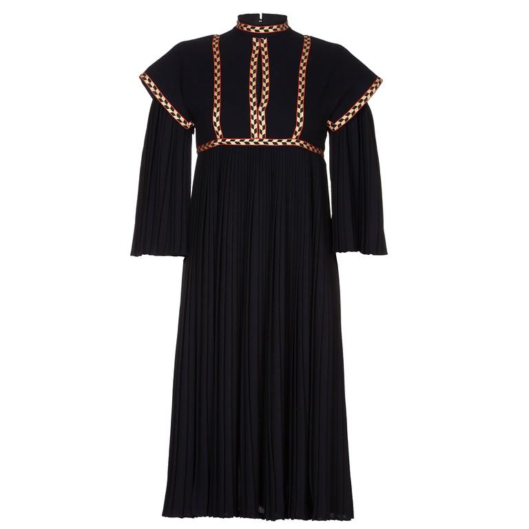 Rare Early Bill Gibb 1970s Renaissance Style Black Pleated Dress