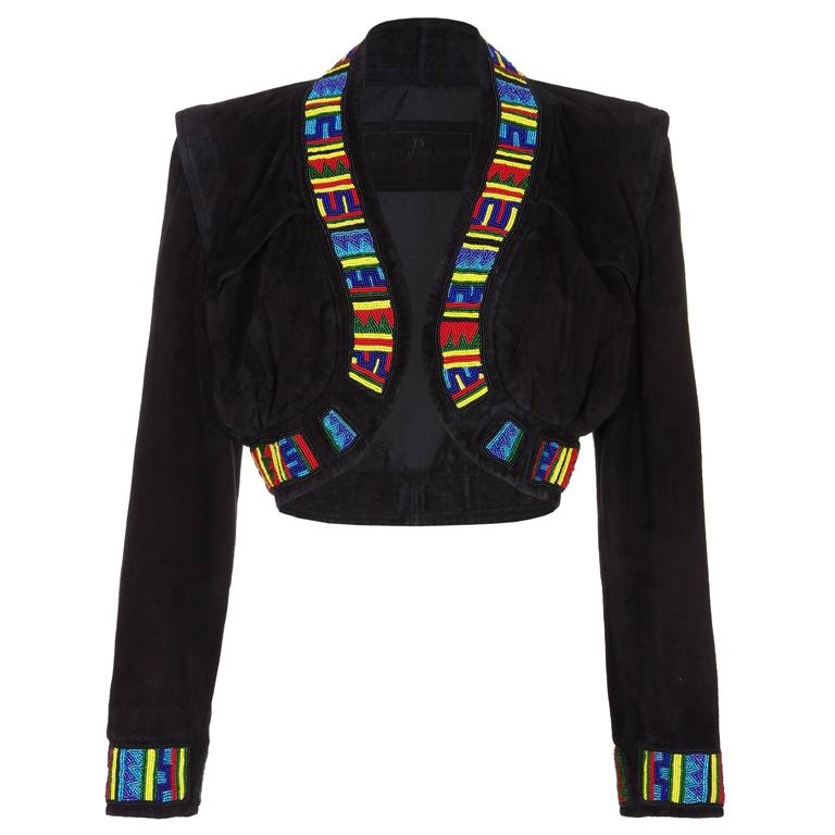 1990s Jean Claude Jitrois Black Suede & Beaded Bolero Jacket