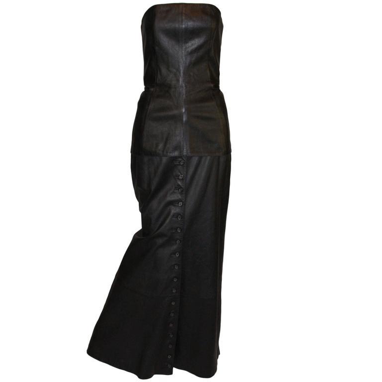 Alexander McQueen F/W 1998 Joan Leather Bustier & Long Skirt Runway Ensemble