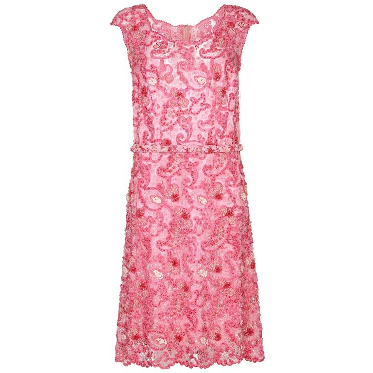 1cb87b40e68c 1960s Norman Hartnell Pink Beaded Dress Owned by Dame Barbara Cartland For  Sale