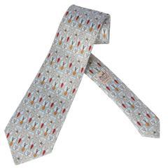 """Vintage Hermes Silk Necktie """"Root Vegetables"""""""