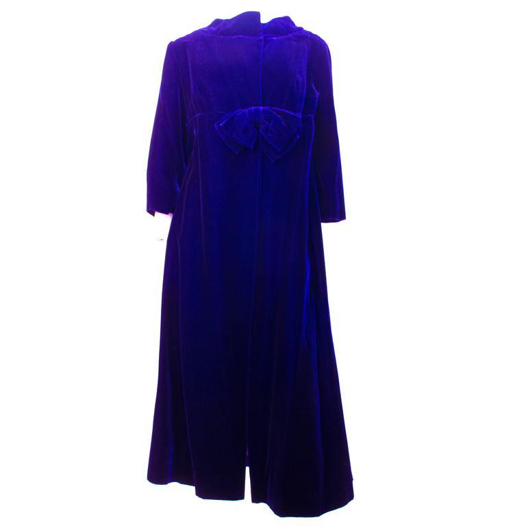 60s Blue Velvet Evening Coat