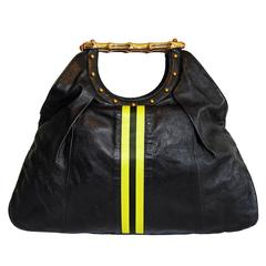 """Free Shipping: Tom Ford Gucci SS 2004 Leather Silk """"Racing Stripes"""" Runway Bag!"""