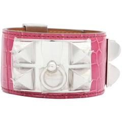Hermes Collier De Chien Alligator Crocodile Bangle Bracelet Fuchsia Pink