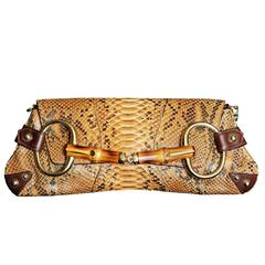 Free Shipping: Heavenly Tom Ford Gucci SS2004 Brown Python Leather Horsebit Bag!