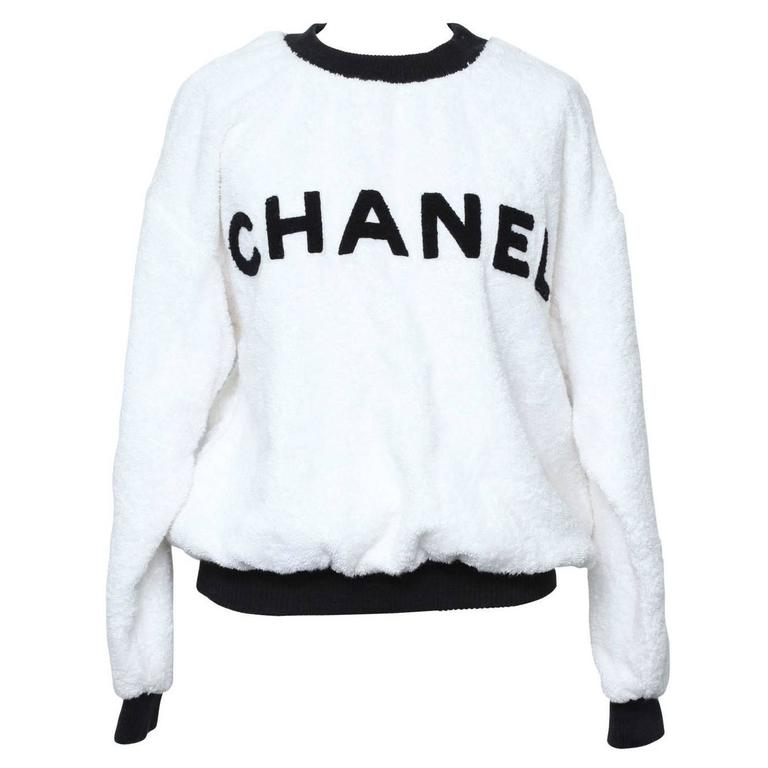 Chanel Black/White Logo Pullover Terry Sweater 1