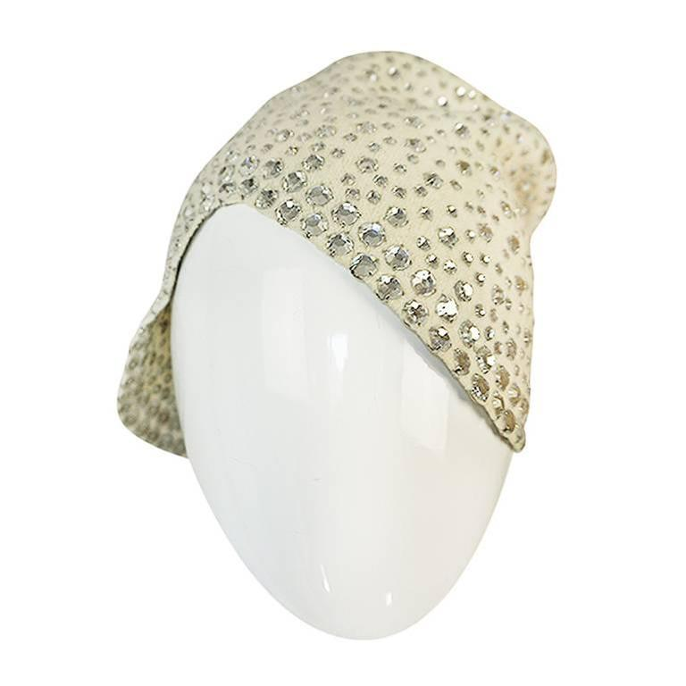 1960s Dorothy McGuire Owned Rhinestone Studded Cream Cloche For Sale