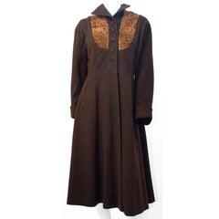 30s Brown Wool Princess Coat with Lamb Fur Embellishment