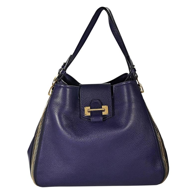 6afe40aace6c Navy Tom Ford Leather Sedgwick Tote Bag at 1stdibs