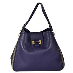 Navy Tom Ford Leather Sedgwick Tote Bag