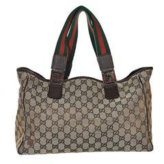 Brown Gucci Monogram Tote Bag