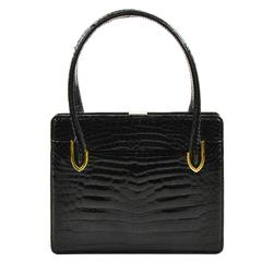 Vintage Gucci Black Crocodile Leather Structured Handbag