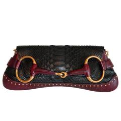 Free Shipping: Tom Ford Gucci SS 2004 Black & Plum Python Leather Horsebit Bag!