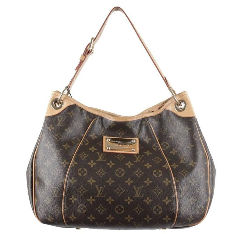 LOUIS VUITTON Brown Monogram Canvas GALLIERA PM HOBO Shoulder Bag TOTE For Sale