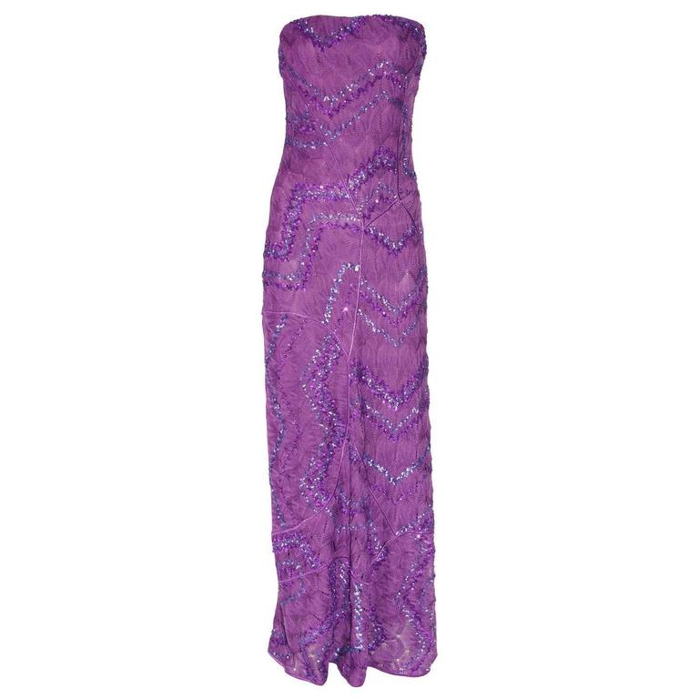 Breathtaking Missoni Embroidered Crochet Knit Evening Gown For Sale ...