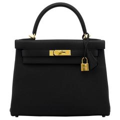 Hermes Kelly II 28 Retourne Togo Leather 89 Black Color Gold Hardware 2016