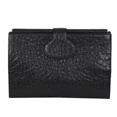 FENDI VINTAGE Black OSTRICH Leather CLUTCH Purse HANDBAG