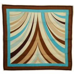 Emilio Pucci Blue, Brown and Tan Scarf