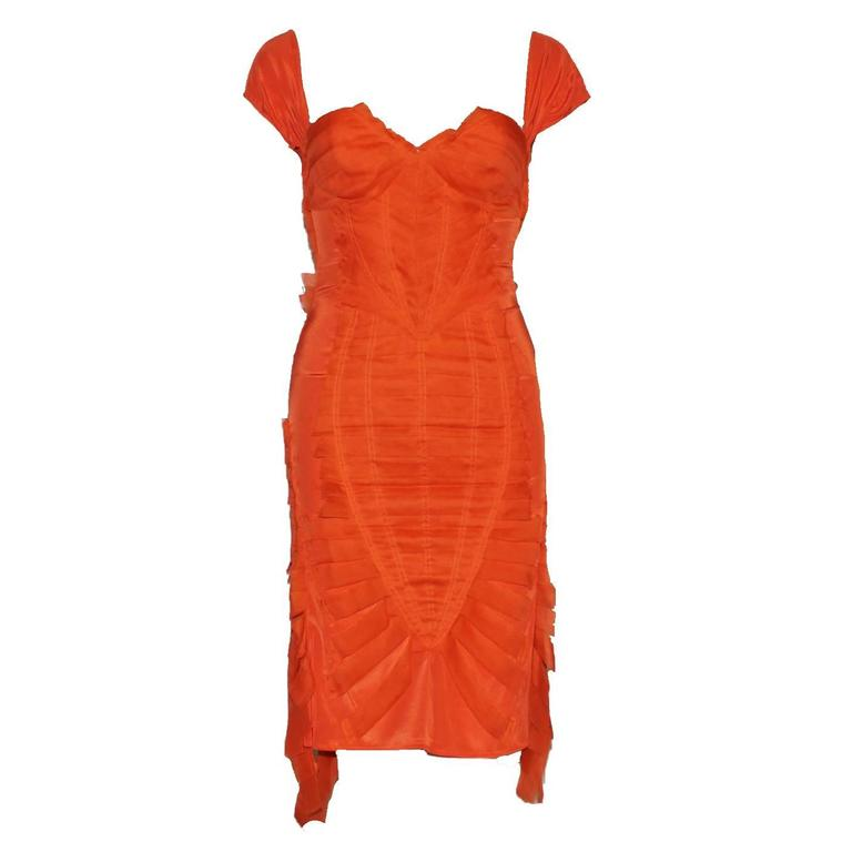 Gucci Tom Ford Spring 2004 Tangerine Frayed Silk Organza Dress
