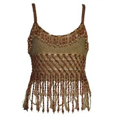 Extraordinary Moschino Couture! Vintage Wooden Pearl Beaded Top