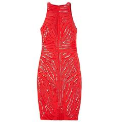 NEW 2013 Versace Red Crepe Cady Sheath Dress with Vinyl Animal Stripes