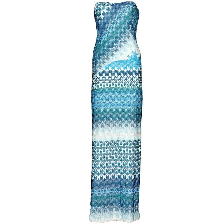 Missoni Metallic Seafoam Blue Crochet Knit Corset Evening Gown at ...