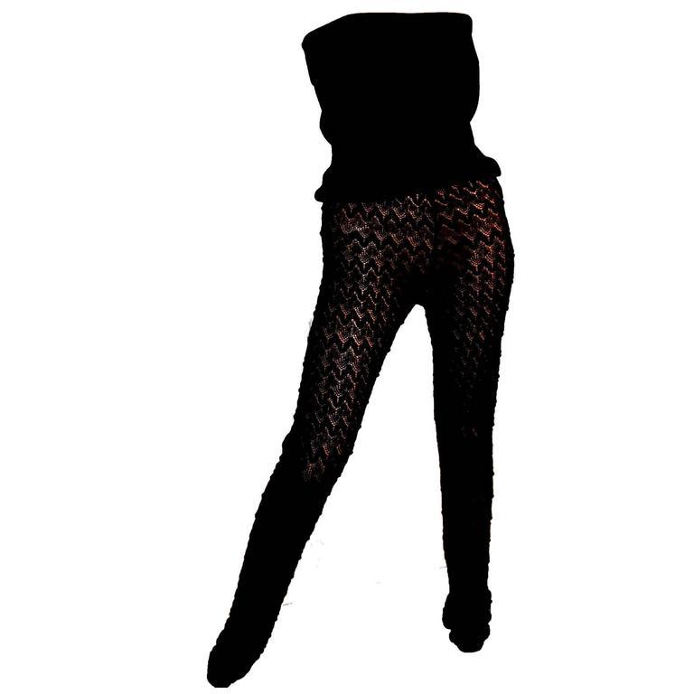 Black Missoni Crochet Knit Jumpsuit