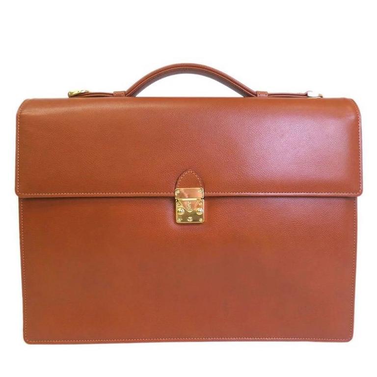 402d76e772 YSL Tan Cognac Leather Gold Men's Attache Briefcase Bag With Key & Strap