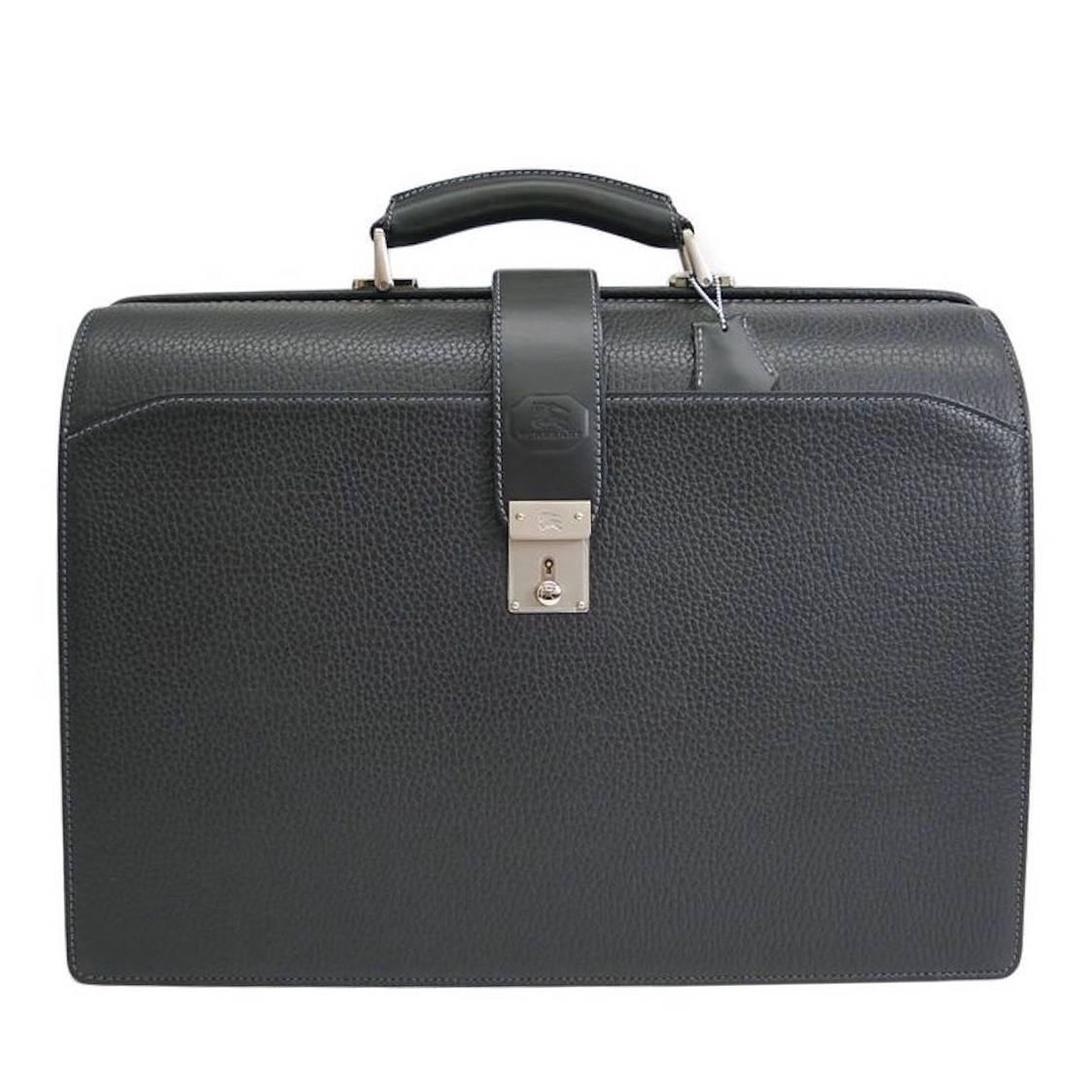 Burberry Black Leather Palladium Men S Attache Briefcase