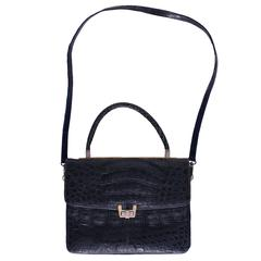 1980s Dark Blue Crocodile Handbag