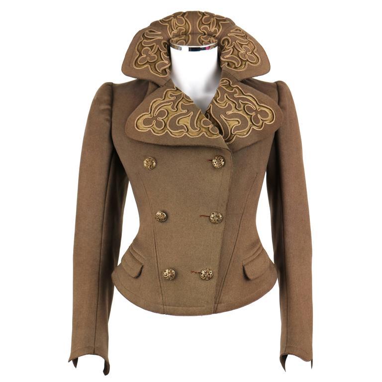 Couture EDWARDIAN c.1900s Vintage Art Nouveau Military Olive Brown Wool Jacket
