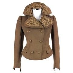 Couture EDWARDIAN c.1900s Vintage Art Nouveau Military Olive Brown Wool Jacket